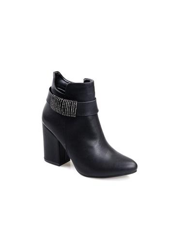 Pandora K20.Mı330 Siyah Bayan 9 Cm Topuklu Günlük Bot Siyah